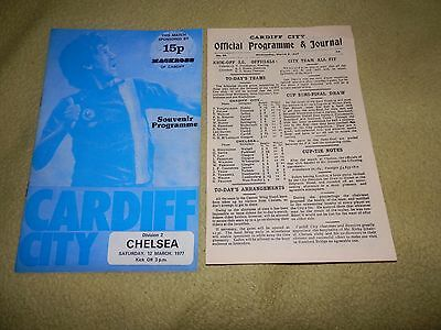 Cardiff City v Chelsea - Division 2 in 1977 with 4 page repro of 1927 Cup game