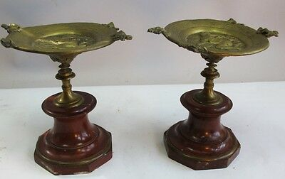 Pair of 19th C. FRENCH GILT BRONZE Tazza w/ Nudes Marble Bases  c. 1880  antique