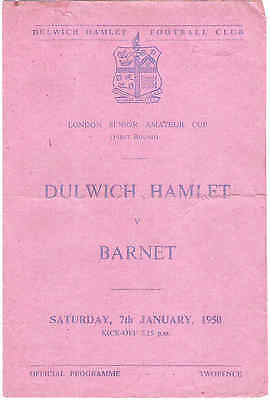 DULWICH HAMLET v BARNET  London Senior Amateur cup     1949/50