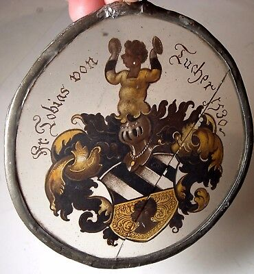 Antique Nearly 500 Yrs Old 1530 heraldic crest Leaded Glass Tobias Von Tucher