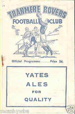 TRANMERE ROVERS Reserves v RHYL  1954/5
