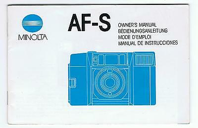 Camera Owners Manual - Minolta Af - S
