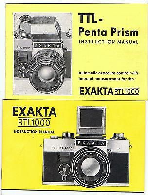 2  Exakta Instruction Manuals For Rtl 1000