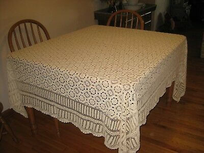 "Beautiful hand crocheted tabelcloth 70""x84"""