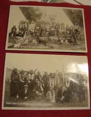 2 early post cards, buffalo bill, sioux indians--visit at indian camp,