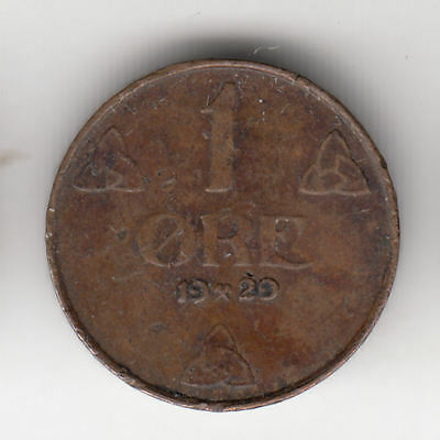 Norway 1 Ore 1929 Copper          223Q       By Coinmountain