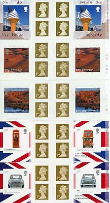 GB 2004-09 Selection of 5 Retail Booklets three with Cylinder Numbers FV £19.50