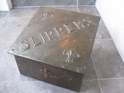 Antique 1910 Arts and Crafts hammered copper and metal strong slipper shoe box