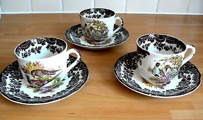 3 Royal Worcester Palissy Game Series Cups & Saucers - Mixed