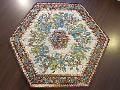 """Hand Made/ Handcrafted Quilted Table Topper ~ Hexagon Shaped ~ 18"""""""