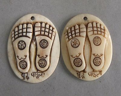 Two Bone Amulets Pendants with Buddhas Feet Carving Nepal