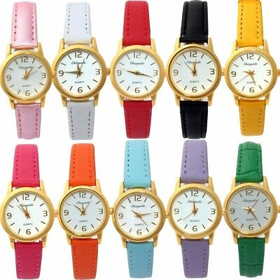 10pcs Mixed Lots Faux Leather Lady Girl Boy Watch Kids Quartz Wristwatches U56M