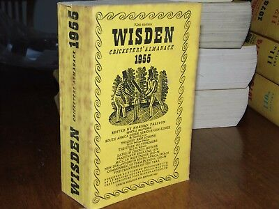 Wisden Cricketers' Almanack 1955 linen covered edition GOOD