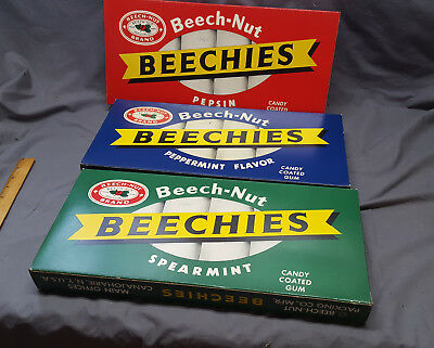 Vtg 1960's LARGE set Beech-Nut Beechies gum store advertising display boxes