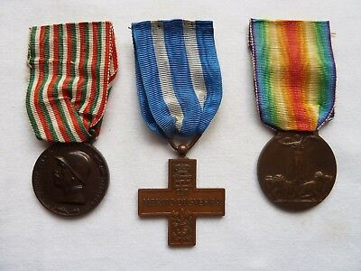 Lot Of 3 Medal Italian Wwi Victory Cross 1918 World War Prima Guerra Italy
