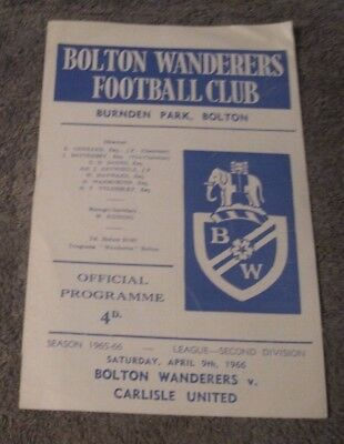 Bolton Wanderers V Carlisle United   April  1966