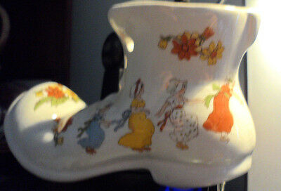 Pottery Boot Very Pretty For Posy Of Flowers Etc . Girls Dancing Around. Fair