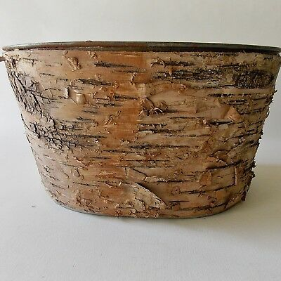 Tree Bark Tin Oval Utility Bucket Rustic Decor Plant Pot Or Kitchen Utility