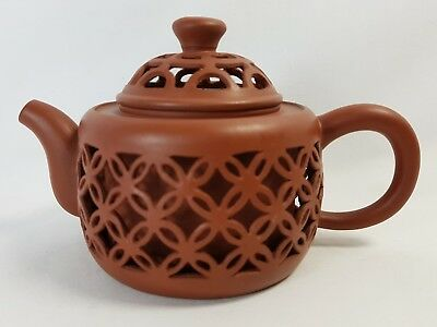 Chinese Reticulated Yixing Tea Pot Teapot Character Marks Signed