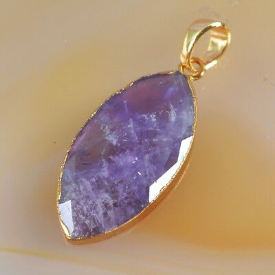 Natural Amethyst Faceted Pendant Bead Gold Plated H104097