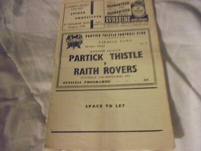 Partick Thistle v Raith Rovers 1961-62 Football Programmes Print error