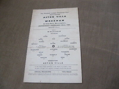 ASTON VILLA v WREXHAM 22/2/61, FL CUP 5TH RD