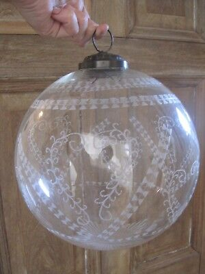 Stunning Edwardian style cut + etched glass hanging ceiling pendant globe light