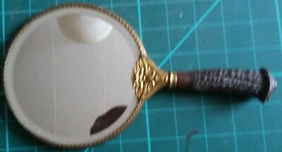Vintage Brass Hand Mirror with Photograph Horn Handle