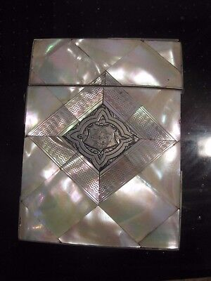 1880s Victorian Mother of Pearl, Silver Inlaid calling Card Case, velvet inside