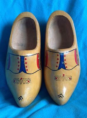 Vintage decorative hand-painted pair of wooden clogs WETT.GED.