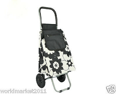 Convenient Black Flower Pattern Two Wheels Collapsible Shopping Luggage Trolleys