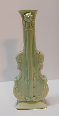 Cello Violin Instrument Wall Pocket Bud Vase Light Green Vintage