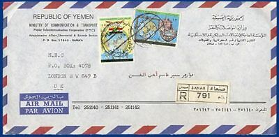 Jemen, provisionals on regd. airmail cover to GB. #S486