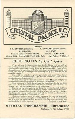 CRYSTAL PALACE v  INTERNATIONAL MANAGERS X1 1956 POST FREE