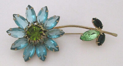 Vintage Aqua-Blue/Green Rhinestone Flower Brooch Weiss