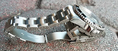 SILVER Stainless Steel  Watch bracelet Oyster Solid Link 20, 21, 22mm Curved End