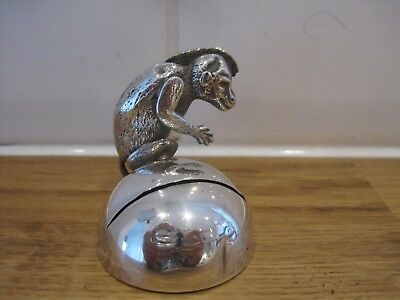 Rare 1890s approx english solid silver monkey menu card place holder 16g