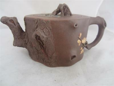 C1900+ Chinese Yixing Floral Relief Teapot