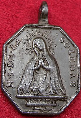 Antique St Francis Our Lady of the Rosary Bronze Spanish Shipwreck Bronze Medal