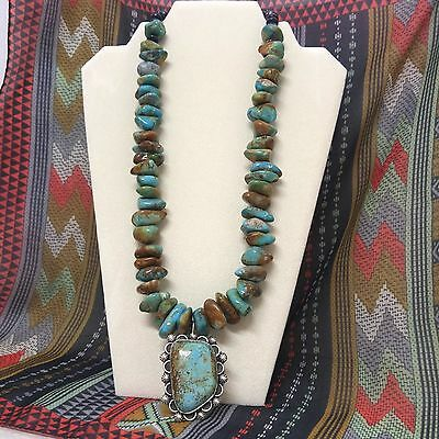 Navajo TURQUOISE & Sterling Silver NECKLACE LARGE Pendant Signed Indian Native