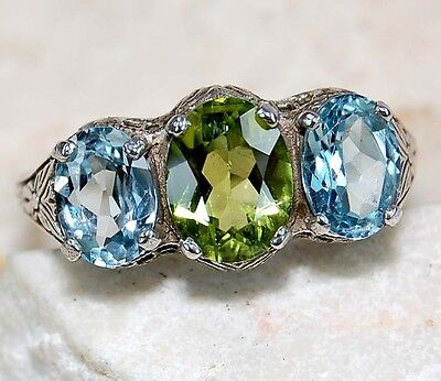 2CT Aquamarine & Peridot 925 Sterling Silver Filigree Ring Jewelry Sz 7