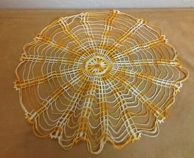 Vintage Hand Crocheted Round Doily, Cotton, Variegated Yellow, Scalloped Edges