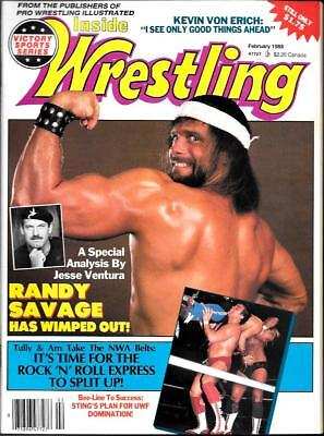 INSIDE WRESTLING Magazine (Feb. 1988) Randy Savage has Wimped out cover 66 pgs