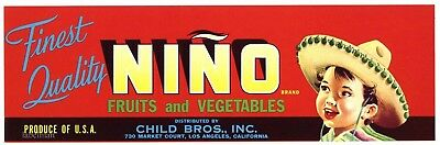NINO Brand, Sombrero, Mexican Boy **AN ORIGINAL PRODUCE CRATE LABEL**, red