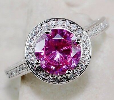 3CT Pink Sapphire & White Topaz 925 Solid Sterling Silver Ring Jewelry Sz 7