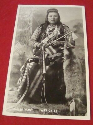 early wesley andrews indian war chief real photo post card, nice cond.