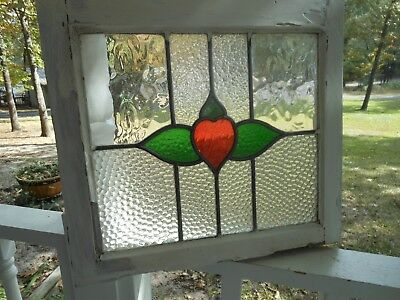 """MA158 Very Pretty Older Leaded Stained Glass """"Red Heart"""" Window From England"""