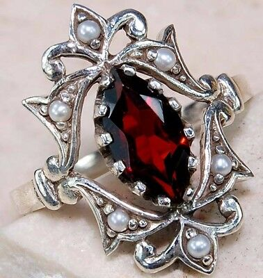 2CT Garnet & Pearl 925 Solid Sterling Silver Art Deco Filigree Ring Jewelry Sz 6