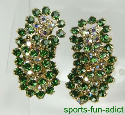 Vtg KRAMER Runway Aurora Borealis & Green Rhinestone Colorful Clip On Earrings