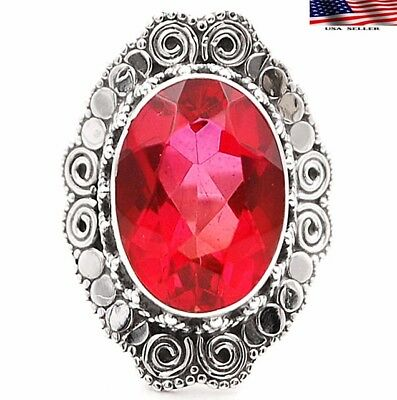 8CT Rubellite tourmaline 925 Sterling Silver Detailed Design Ring Jewelry SZ 7.5